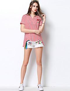 Dames Eenvoudig Lente Zomer Overhemd,Uitgaan Casual/Dagelijks Gestreept Overhemdkraag Halflange mouw Katoen Dun