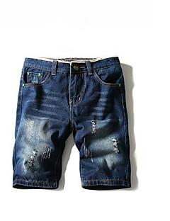 Herre Enkel Mikroelastisk Jeans Bukser,Løstsittende Mellomhøyt liv Denim