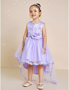 Princess Asymmetrical Flower Girl Dress - Satin Tulle Jewel with Bow(s) Flower(s) Lace Sash / Ribbon Pleats