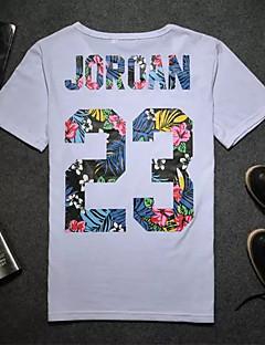 メンズ 夏 Tシャツ,シンプル ラウンドネック レタード ポリエステル 半袖 スモーキー ミディアム
