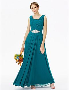 Floor-length Chiffon Elegant Bridesmaid Dress - A-line Scoop with Beading