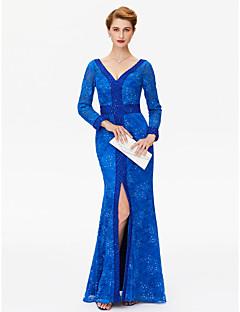 LAN TING BRIDE מעטפת \ עמוד שמלה לאם הכלה  - נוצץ וזוהר גב פתוח פורקל עד הריצפה שרוול ארוך תחרה  -  חרוזים פרטים מקריסטל שסע קדמי