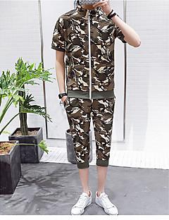 Herren Active Set Aktiv Ständer Mikro-elastisch Kunstseide Kurzarm Frühling Sommer
