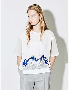 Damen Druck Einfach Alltag T-shirt,Rundhalsausschnitt Sommer Polyester Dünn