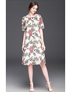 Kadın Günlük/Sade Parti/Kokteyl Dışarı Çıkma Kombinezon Elbise Çiçekli,½ Kol Uzunluğu Yuvarlak Yaka Diz üstü Suni İpek Bahar YazYüksek