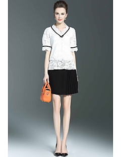 Damen einfarbig Anspruchsvoll Lässig/Alltäglich Bluse Rock Anzüge,Rundhalsausschnitt Sommer Kurzarm