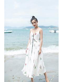 Kadın Günlük/Sade Çan Elbise Solid Geometrik,Kolsuz Askılı Midi Keten Yaz Düşük Bel Streç Orta
