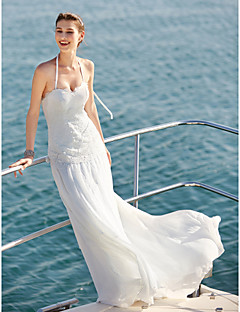 2017 LAN TING BRIDE Sheath / Column Wedding Dress - Elegant & Luxurious Simply Sublime Sweep / Brush Train Halter Chiffon Lace with Button Lace
