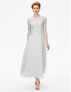 2017 LAN TING BRIDE Sheath / Column Mother of the Bride Dress - See Through Elegant Ankle-length 3/4 Length Sleeve Chiffon Lace withCrystal