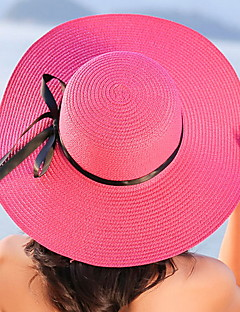 Women Beach Summer Bow Solid Color Sunscreen Folded Sun Wide Brim Hat Straw Hat