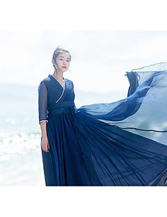 Kadın Kumsal Çan Elbise Solid,Uzun Kollu V Yaka Maksi Polyester Yaz Düşük Bel Mikro-Esnek Orta