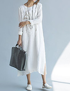 Women's Casual/Daily Loose Dress,Solid Round Neck Maxi Long Sleeve Cotton Summer Mid Rise Inelastic Thin
