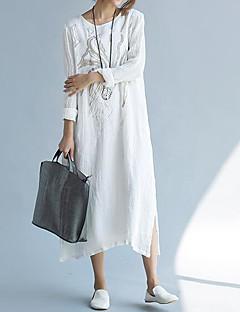 Ample Robe Femme Décontracté / QuotidienCouleur Pleine Col Arrondi Maxi Manches Longues Coton Eté Taille Normale Non Elastique Fin