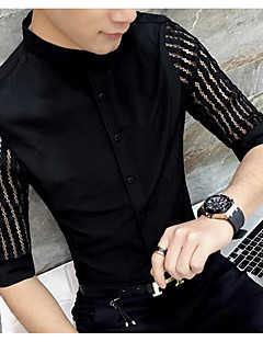 Men's Casual Simple Shirt,Solid Square Neck Half Sleeves Polyester