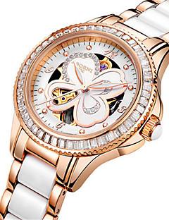 女性用 スケルトン腕時計 ファッションウォッチ 機械式時計 日本産 自動巻き 耐水 合金 セラミック バンド シルバー ローズゴールド