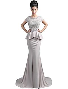 Trumpet / Mermaid Mother of the Bride Dress Sweep / Brush Train Short Sleeve Chiffon with Beading Lace