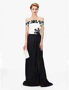 LAN TING BRIDE מעטפת \ עמוד שמלה לאם הכלה  - פורקל בלוק צבע שובל סוויפ \ בראש שרוולים קצרים סאטן נמתח  -  אפליקציות שסע קדמי קפלים