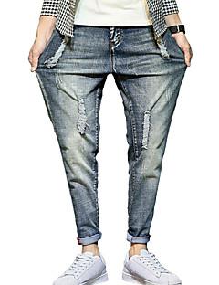 Herren Einfach Mittlere Hüfthöhe Mikro-elastisch Haremshosen Jeans Lose Haremshosen Hose,Ripped einfarbig