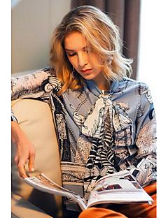 Dames Schattig Lente Zomer Overhemd,Casual/Dagelijks Uitgaan Print Opstaand Lange mouw Zijde