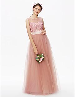 LAN TING BRIDE Na zem Klenot Šaty pro družičky - Květinové Průsvitný Bez rukávů Tyl