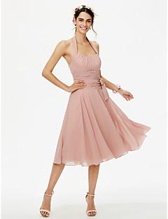 LAN TING BRIDE באורך  הברך קולר שמלה לשושבינה  - גב פתוח ללא שרוולים שיפון