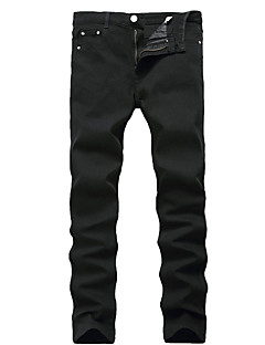 New Design Popular Style Men's Mid Rise High Elasticity Slim Jeans PantsSimple Straight Slim Solid High Quality Famous Brand Denim Jeans
