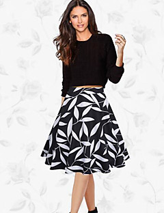 Women's Swing Print Skirts,Going out Vintage Mid Rise Knee-length Zipper Polyester Micro-elastic Spring Summer