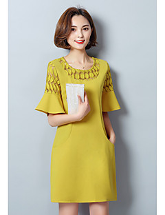 Women's Daily Going out Cute A Line Dress,Solid Round Neck Above Knee Half-Sleeve Polyester Summer Mid Rise Micro-elastic Medium
