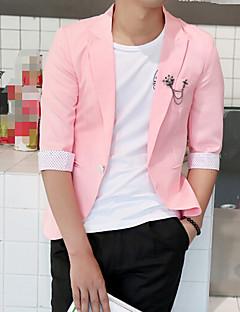 Erkek Polyester 1/2 Kol Uzunluğu Sivri Yaka Yaz Sonbahar Solid Sade Çalışma Normal-Erkek Blazer
