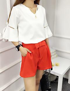 レディース 日常 夏 Tシャツ(21) パンツ スーツ,シンプル Vネック ソリッド 五分袖 非弾性