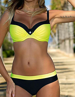 Women's Bikini Solid Polyester Solid