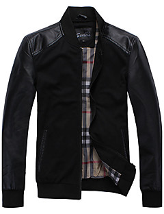 Men's Daily Casual Vintage Fall Winter Jacket,Others Patchwork Stand Long Sleeve Regular PU Patchwork