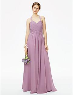 LAN TING BRIDE עד הריצפה קולר שמלה לשושבינה  - גב יפהפייה ללא שרוולים שיפון