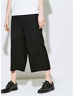Femme simple Taille haute Micro-élastique Chino Pantalon,Large Couleur unie Couleur Pleine