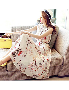 Women's Casual/Daily Beach Boho Swing Dress,Print Crew Neck Maxi Sleeveless Others Summer High Rise Micro-elastic Thin