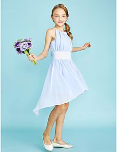 LAN TING BRIDE Asymmetrical Chiffon Junior Bridesmaid Dress Sheath / Column Jewel Natural with Sequins - Sky Blue Lime Green Ocean Blue