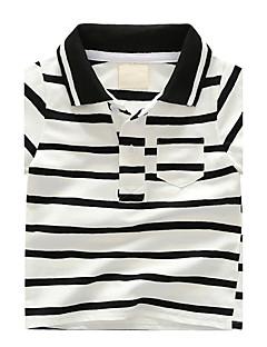 Gutter T-skjorte Striper Bomull Sommer Kortermet Normal