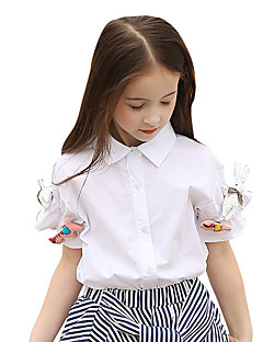 Girls' Solid Shirt,Cotton Summer Short Sleeve Regular