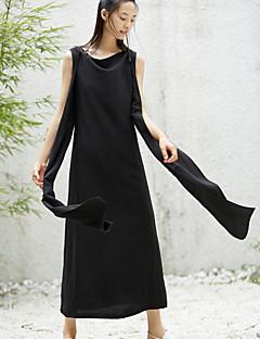 Kadın Günlük/Sade Salaş Elbise Solid,Kolsuz Yuvarlak Yaka Midi Keten Yaz Normal Bel Esnemez İnce