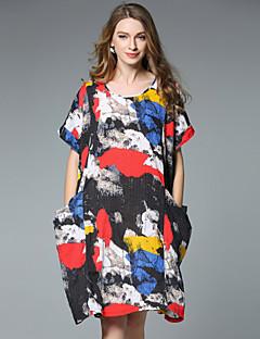 Kadın Günlük/Sade Boho Salaş Elbise Desen,Kısa Kollu Yuvarlak Yaka Diz-boyu Keten Yaz Yüksek Bel Esnemez İnce