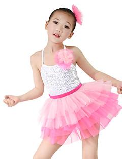 Детская одежда для танцев Инвентарь Детские Выступление Органза Лайкра Без рукавов Завышенная талия