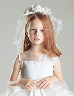 Véus de Noiva Uma Camada Véu Cotovelo Véus de Primeira Comunhão Borda com aplicação de Renda Tule