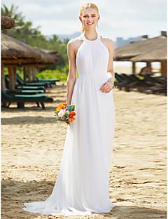 LAN TING BRIDE A-Şekilli Düğün elbisesi Open Back Yere Kadar Boyundan Dantelalar Tül ile Drape Dantel