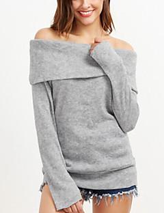 Damen Standard Pullover-Alltag Street Schick Solide Bateau Langarm Wolle und Polyester Mischung Frühling Herbst Mittel Mikro-elastisch
