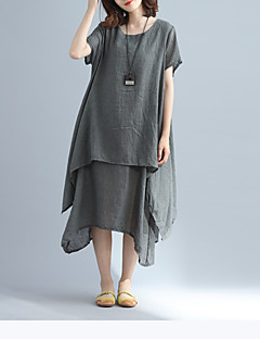 Women's Going out Casual/Daily Vintage Simple Street chic A Line Loose Sheath Dress,Solid Round Neck Maxi Short Sleeve Cotton LinenSpring