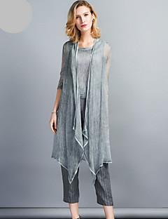 Damen Solide Gestreift Linien / Wellen Retro Lässig/Alltäglich Bluse Hose Anzüge,Schulterfrei Sommer Lange Ärmel Mikro-elastisch