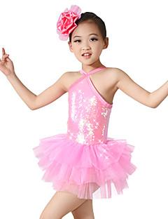 Μπαλέτο Φορέματα Παιδικά Επίδοση Σπαντέξ Πολυεστέρας Με Πούλιες Χιαστί 2 Κομμάτια Αμάνικο Φυσικό Φόρεμα Αξεσουάρ Κεφαλής