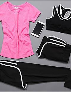 女性用 半袖 ランニング コンプレッションウェア トラックスーツ 下着 洋服セット サイクリング キャンピング&ハイキング フィットネス、ランニング&ヨガ カジュアルスーツ スポーツ オールシーズン スポーツウェア ヨガ ランニング ジョギング フィットネス スパンデックス