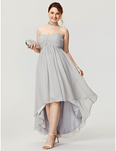 A-Line Sweetheart Asymmetrical Chiffon Homecoming Formal Evening Dress with Beading Criss Cross Ruching Pleats by TS Couture®