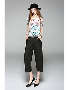 Kortærmet Rund hals Medium Damer Trykt mønster Forår Sommer Simpel I-byen-tøj Afslappet/Hverdag Bluse,Polyester
